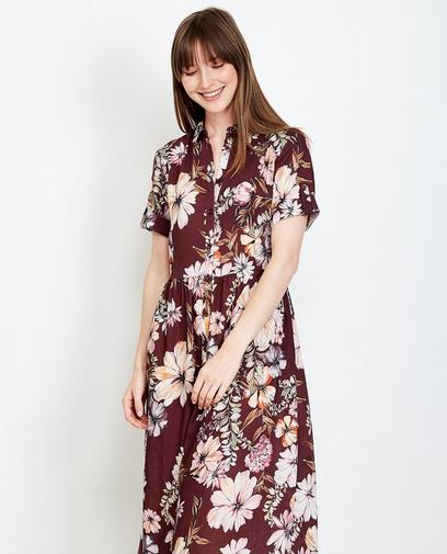 Bordeauxrode maxi-jurk